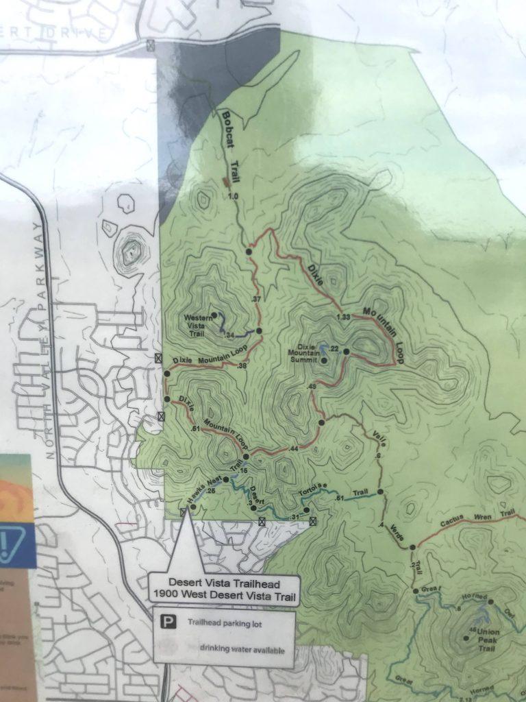 Desert Vista Trailhead Hikes, Phoenix Sonoran Preserve Map