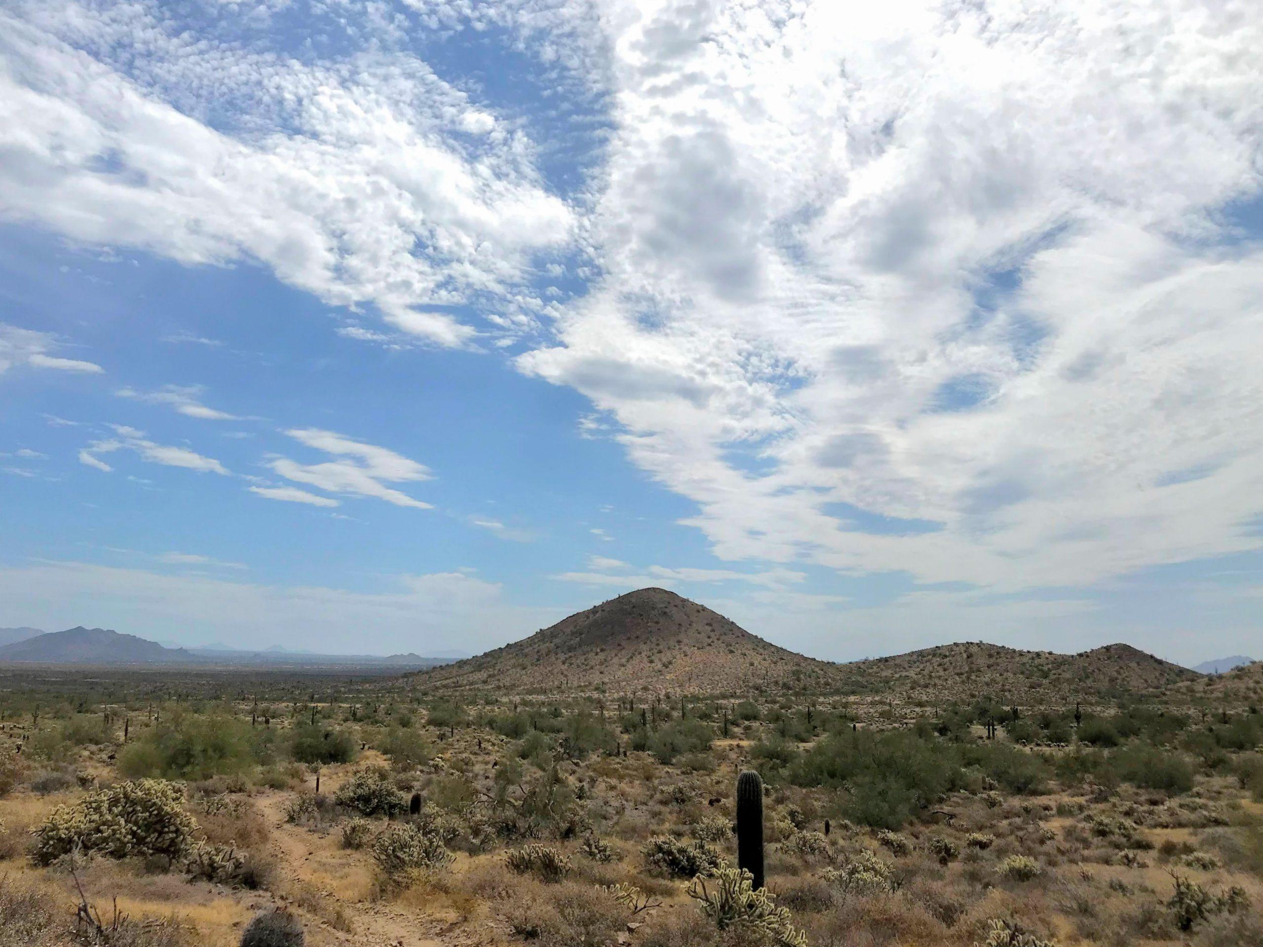 Desert Vista Trailhead Hikes, Phoenix Sonoran Preserve flat area perfect for camping