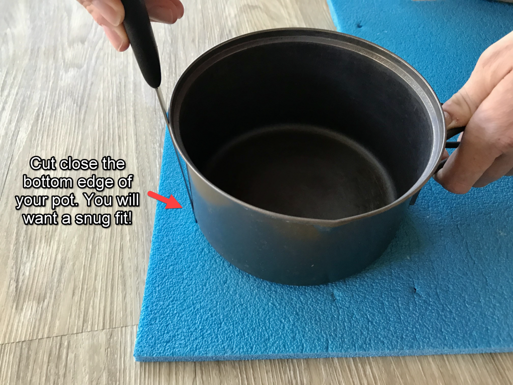 how to make a closed cell foam pot cozy bottom circle