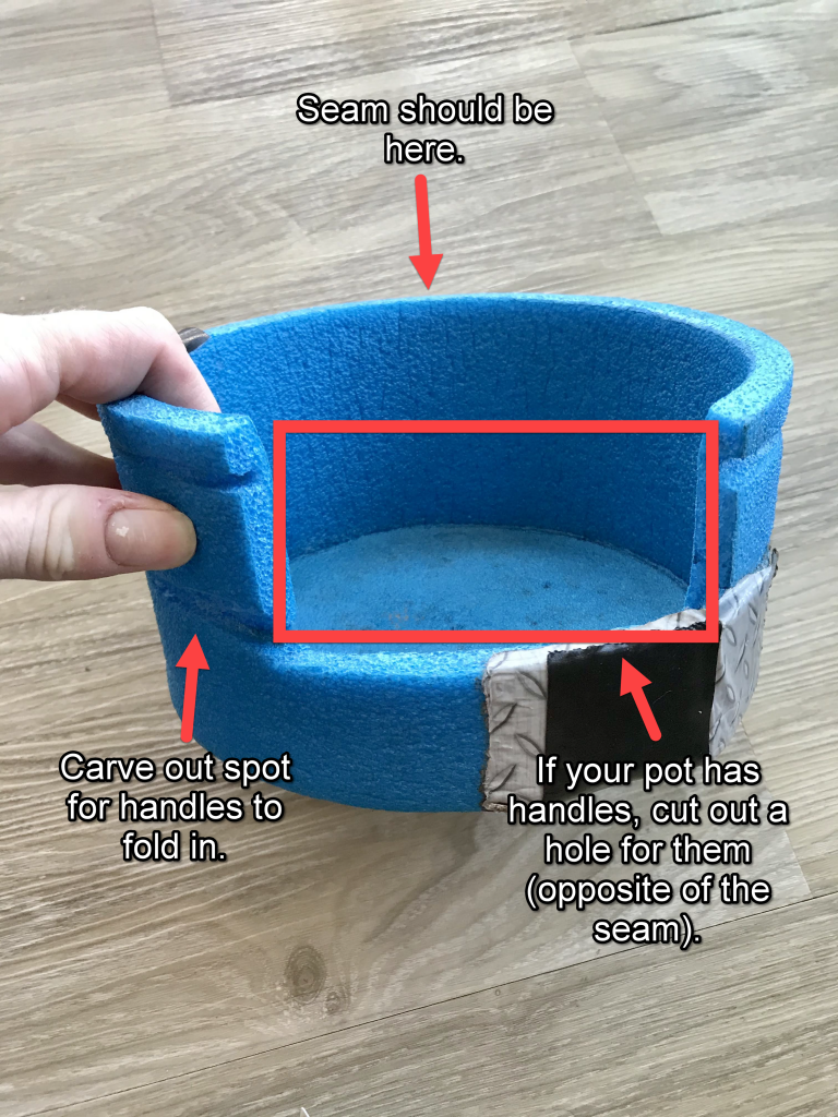how to make a closed cell foam pot cozy handles