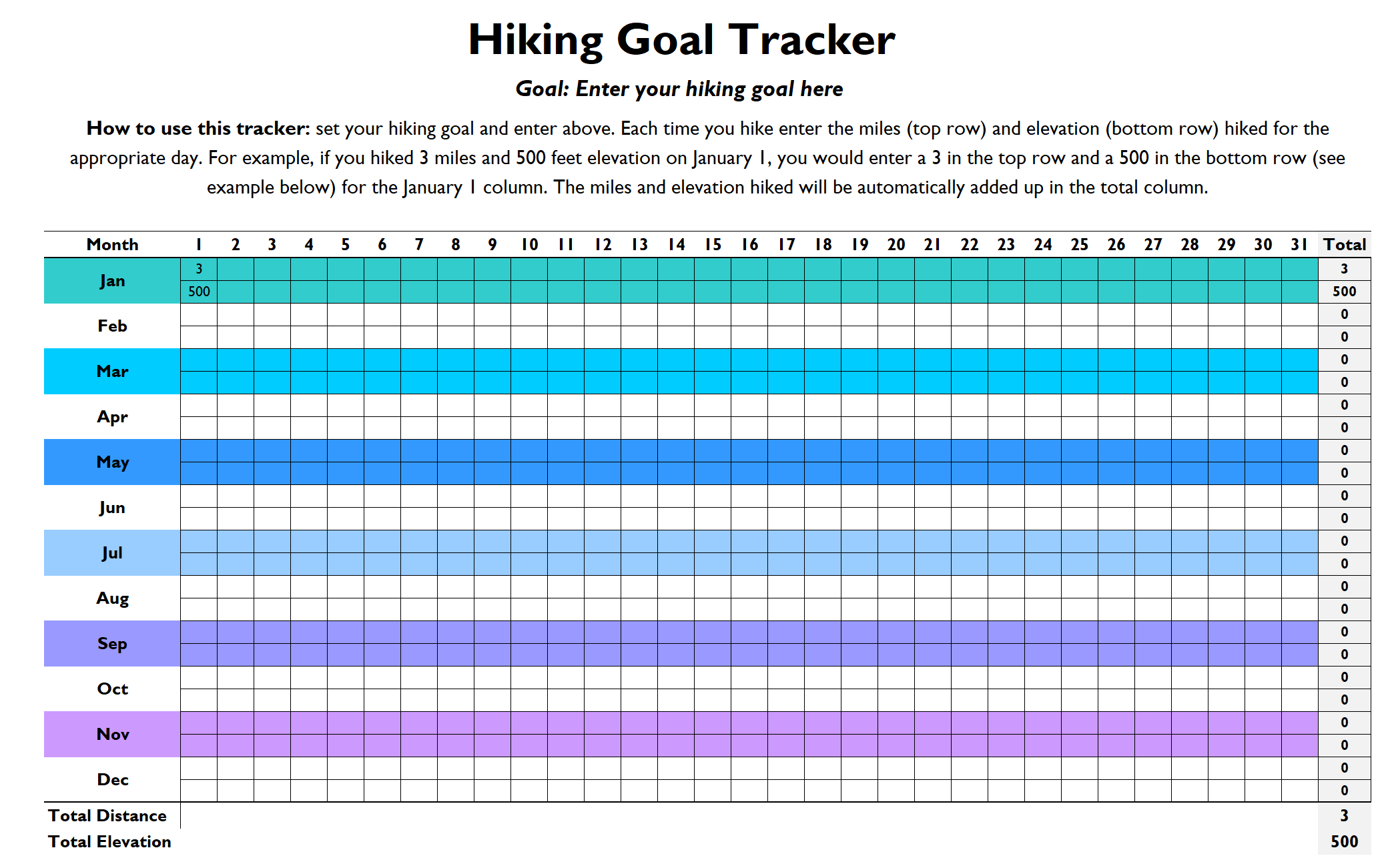 Free Hiking Goal Tracker