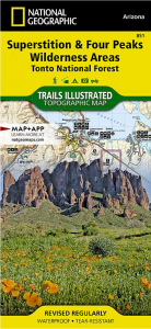 Nat geo 851 superstition and 4 peaks wilderness area map